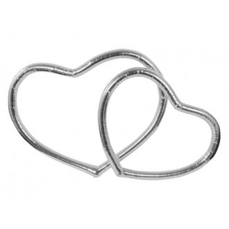 Serca metalizowane, srebrny, 1op.